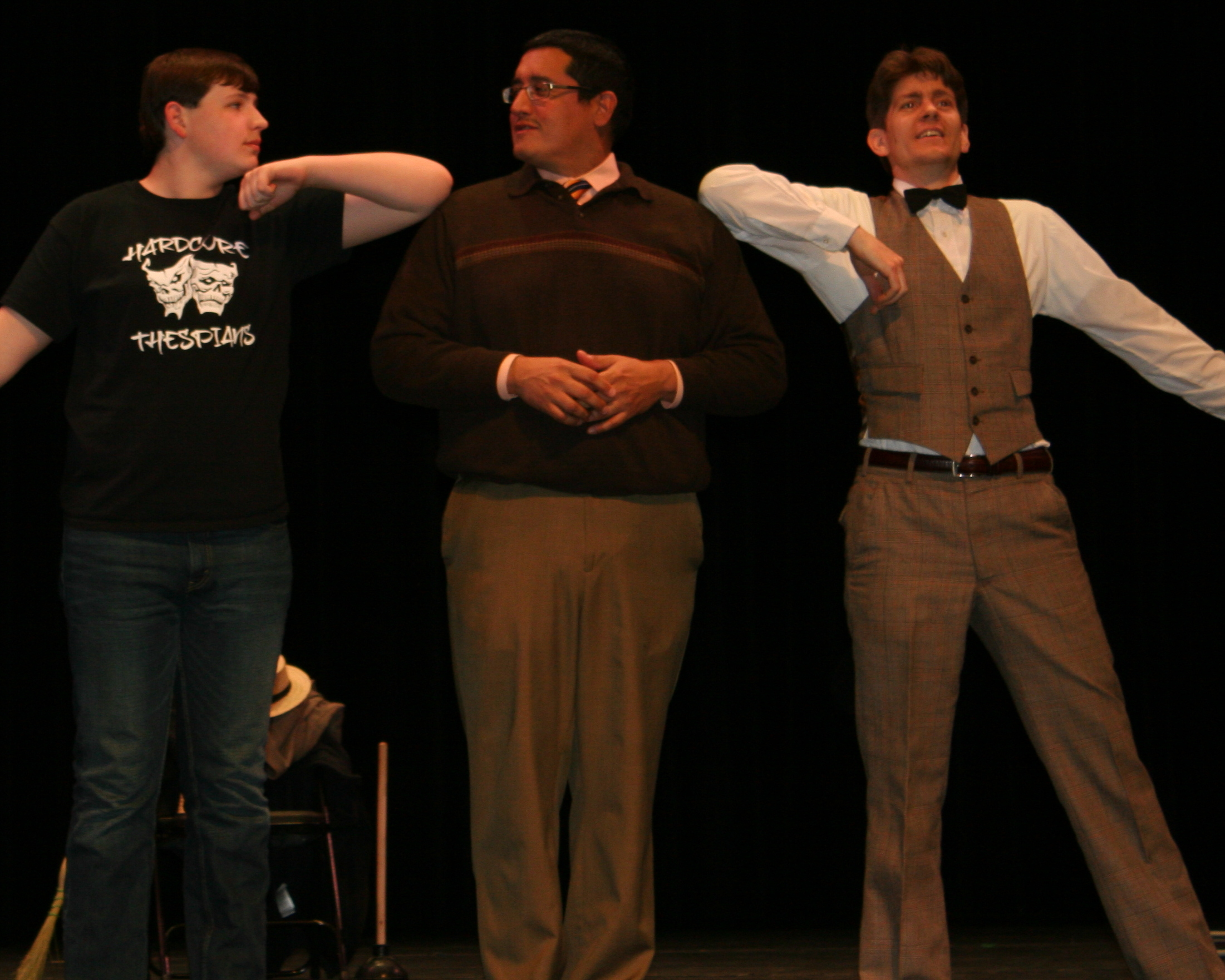 "William Ellis,  Dan Reyes and Nicholas Sargent rehearse ""Hello, Dolly"""