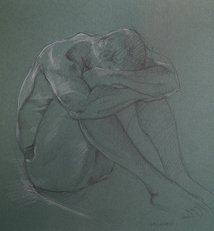"Pat Callahan, ""Side Light"", pencil and conte"