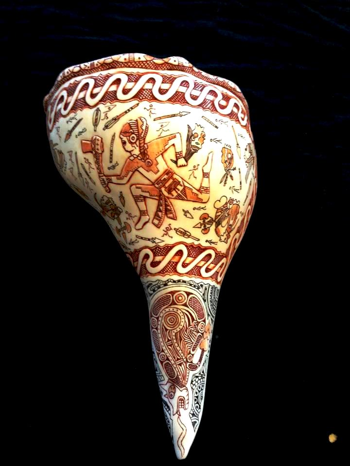 "Andy Grant's award-winning Cherokee carved shell  ""Warrior's Cup"""
