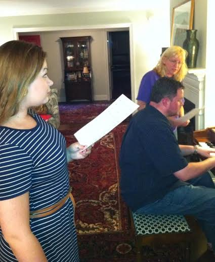 "Erika Bryant and Jami Steele (Young Solange and Solange) rehearse ""Ah Paris"" with Musical Director Jeremy Buzzard"