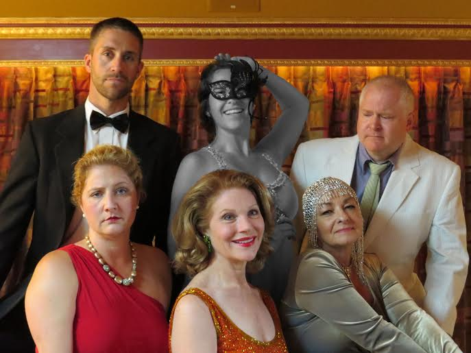 Clockwise from top: Bryan Meyers as Ben, Melanie Carrier as the Ghostly Showgirl Young Vanessa, Andy Nyland as Buddy, Kathy Hartzog as Carlotta, Ruth Ann Ingham as Sally, and Rebecca Seezen as Phyllis.