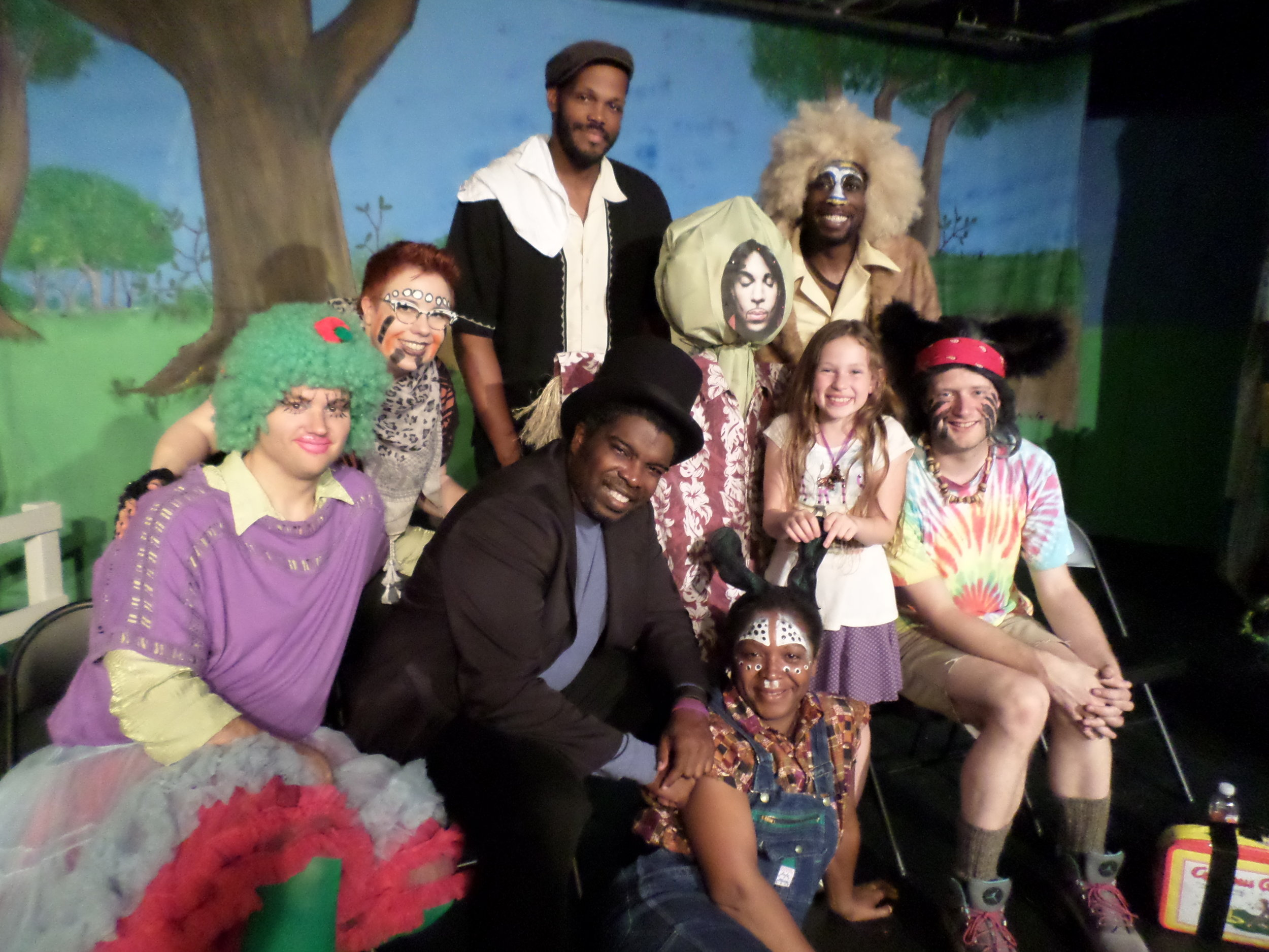 (l-r): Heather McCue (Br'er Tiger), Jimmy Wall (Tar Baby), Darion McCloud (director, Anansi), Thespian Formerly Known as Scarecrow, Charlie Goodrich (Br'er Bear), Michael Clark (Br'er Lion)