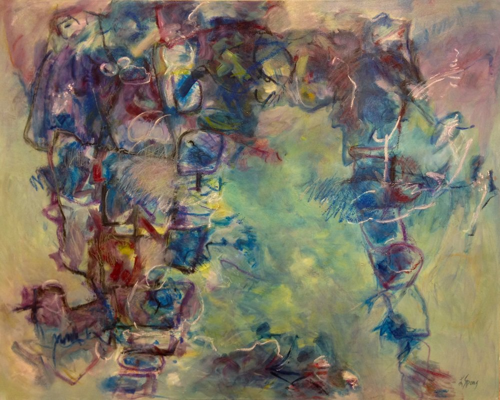 Laura Spong,  I've Been Known To Float Upstream,  2013, oil on canvas, 48 x 60 in. (if ART Gallery)