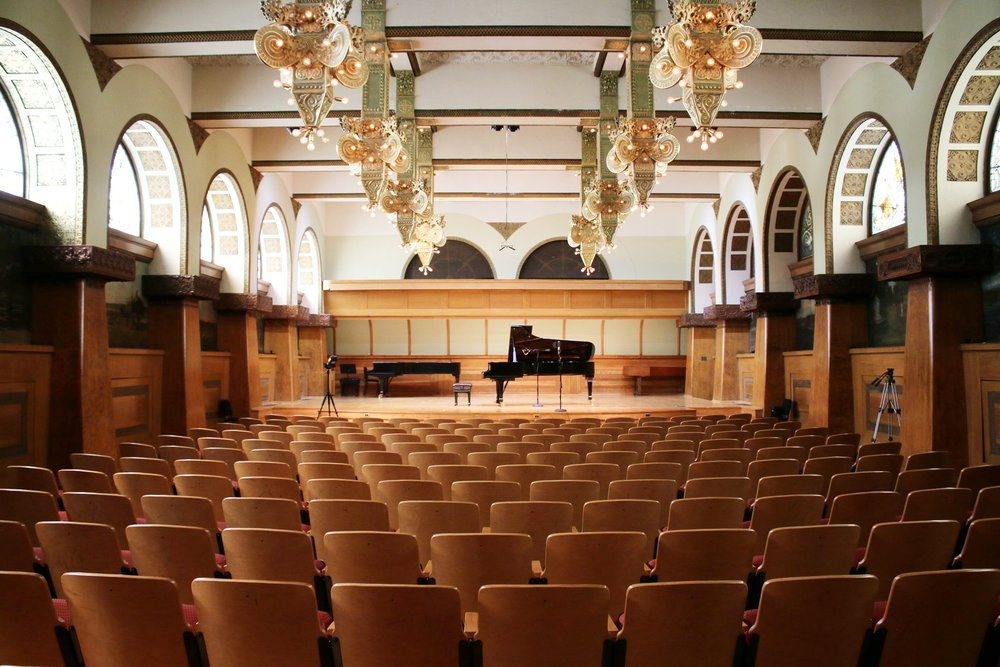 Ganz Hall at Roosevelt University - 430 S. Michigan Ave, Chicago IL 60605Located downtown in the historic Auditorium Building, Ganz Hall is Roosevelt University's primary recital venue. Atlas Arts records over 200 performances each year in this space, and it is one of our favorite venues. Message atlasarts.media@gmail.com for more information about Ganz Hall reservation rates and availability.