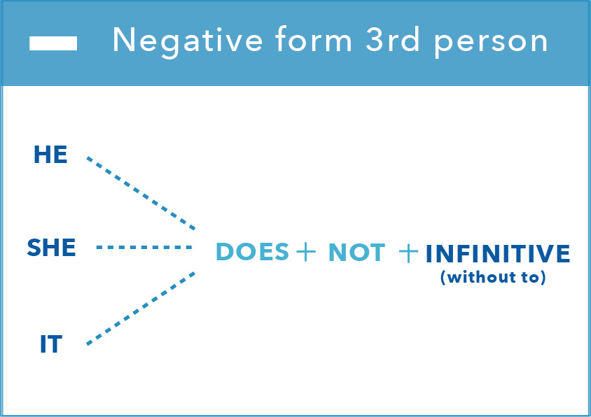 present simple form 3RD negative