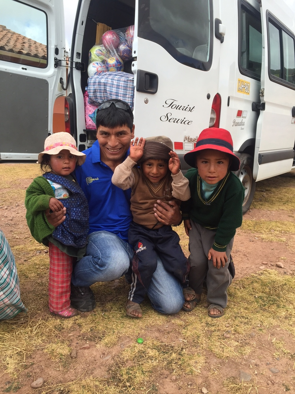 Delivering shoes, supplies and balls to a school near Maras