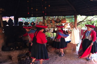 Local women preparing for a weaving demonstration at Chinchero