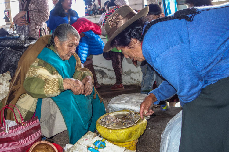 Local women buying frogs which are supposed to be good for curing anemia