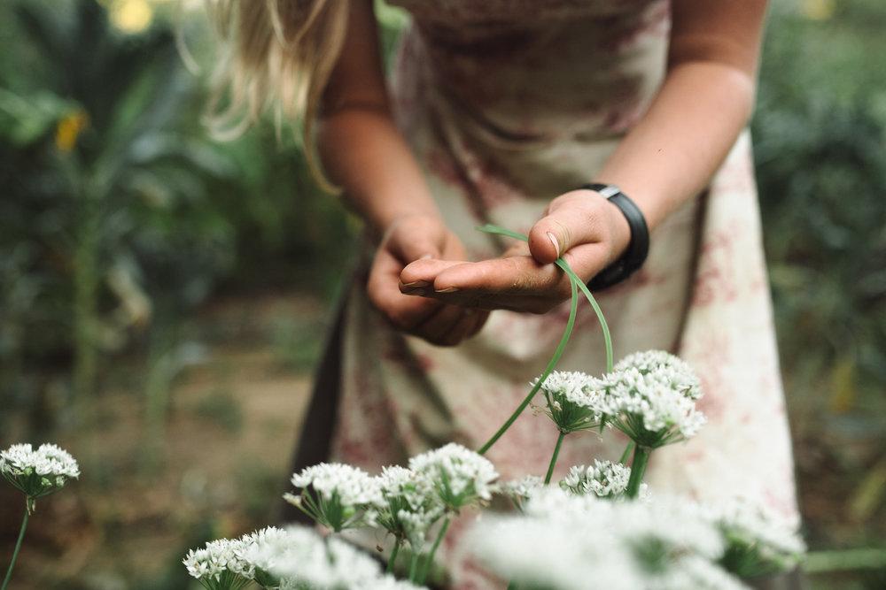girl judging plants in garden