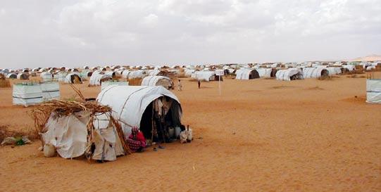 Camp de réfugiés au Darfour (source : Sean Woo. http://www.house.gov/wolf/issues/hr/trips/sudanrpt_web.pdf )