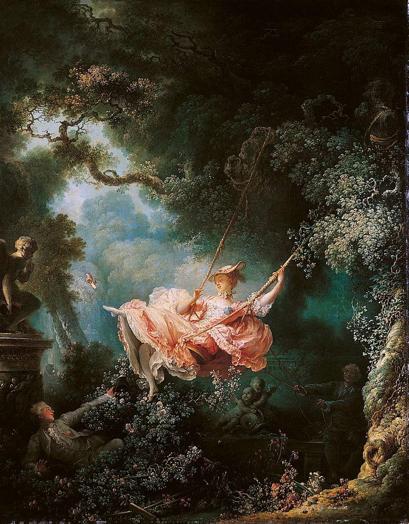 Les hasards heureux de l'escarpolette de Jean-Honoré Fragonard (1732-1806).Une oeuvre représentative du mouvement rococo et de son engouement pour les tonalités pastels.