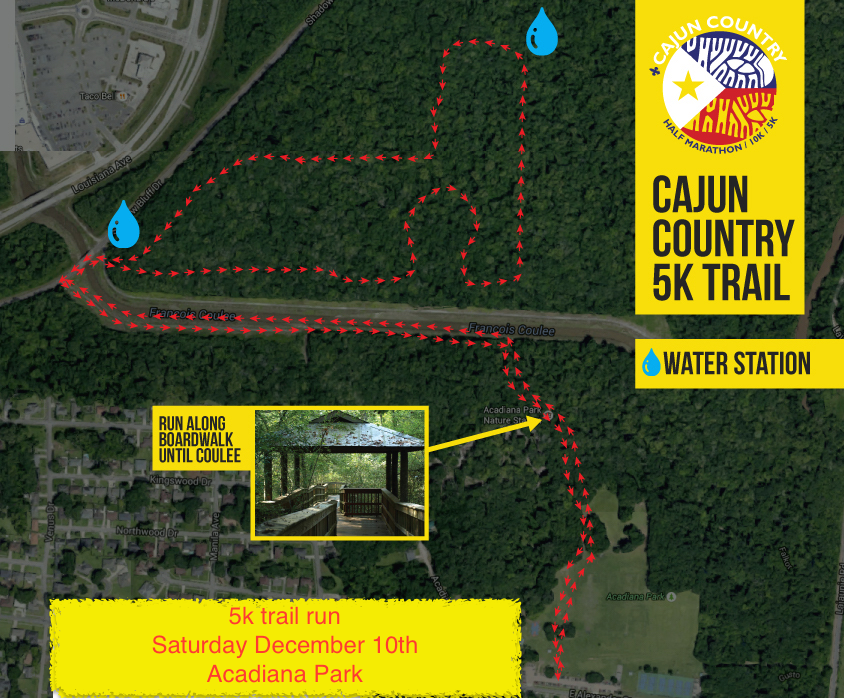 The water station are only set up for the Cajun Country race and are not permanent fixtures of the park.  You can park off of Shadow Bluff Dr. next to the coulee for easy access to the nature trails on the North section.