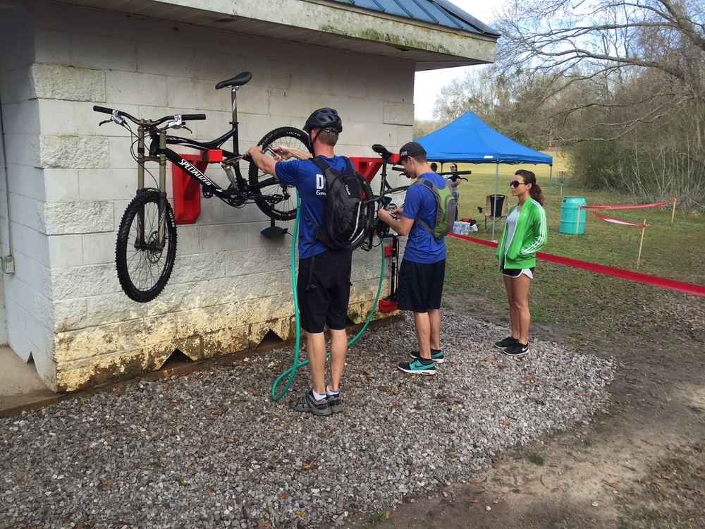 Bike wash station near the entrance to the mountain bike trails at Acadiana Park.  This was a Mountain Bike Acadiana project that TRAIL assisted with.