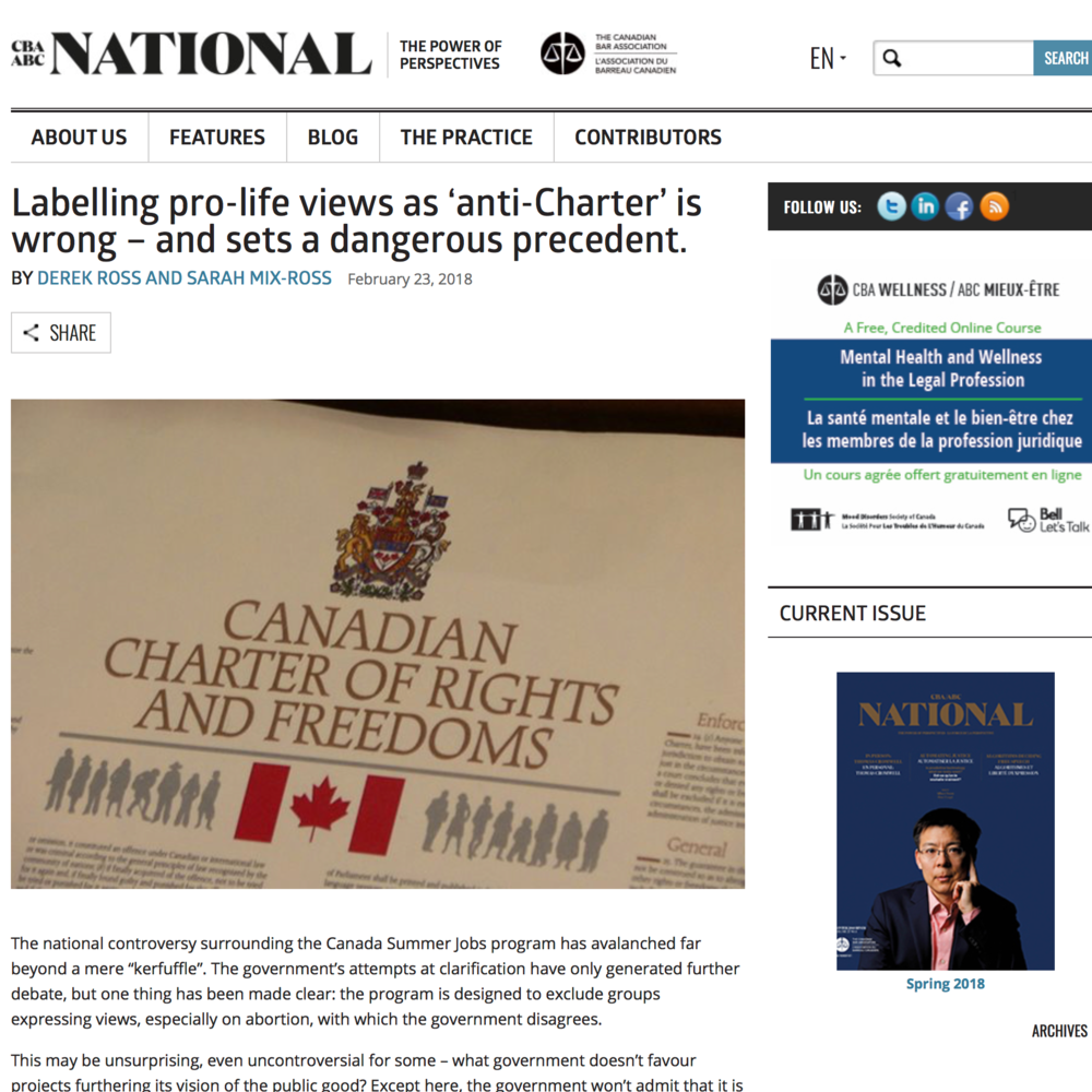 CBA National:Labelling pro-life views as 'anti-Charter' is wrong - and sets a dangerous precedent - Derek Ross & Sarah Mix-Ross