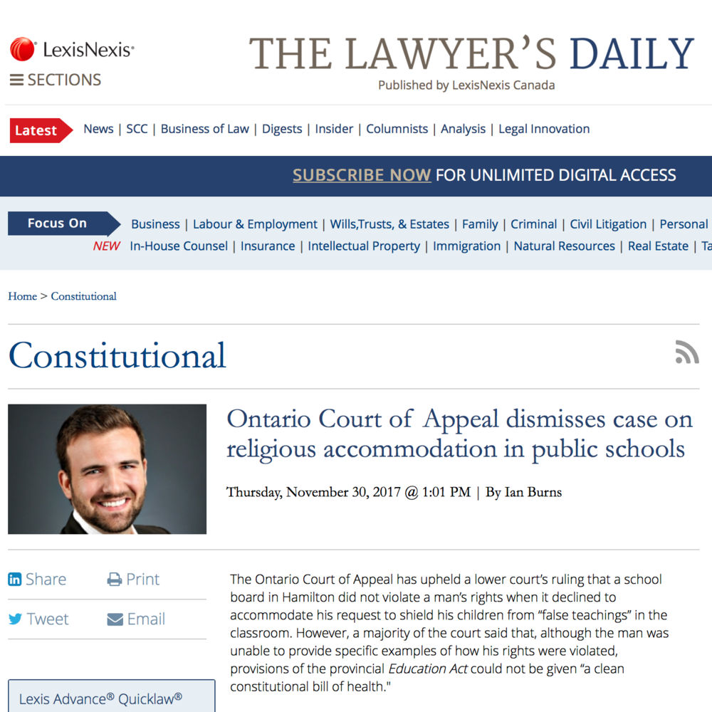 The Lawyer's Daily:  - Ontario Court of Appeal dismisses case on religious accommodation in public schools