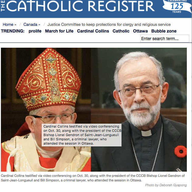The Catholic Register: - Justice Committee to keep protections for clergy and religious service