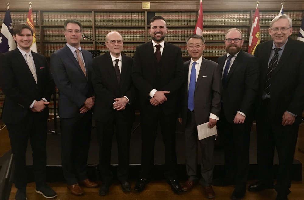 Many travelled from across Canada to be at the Gala, including members of the CLF Board of Directors.  From left to right: Kristopher Kinsinger (ON; Student Rep.), Shawn Smith (BC), Robert Reynolds (President; QC), Derek Ross (ED; ON), Robert Song (AB), Philip Milley (Secretary; NFLD), and Timothy Sinnott (Ontario). Not pictured: Shayna Beeksma (ON).