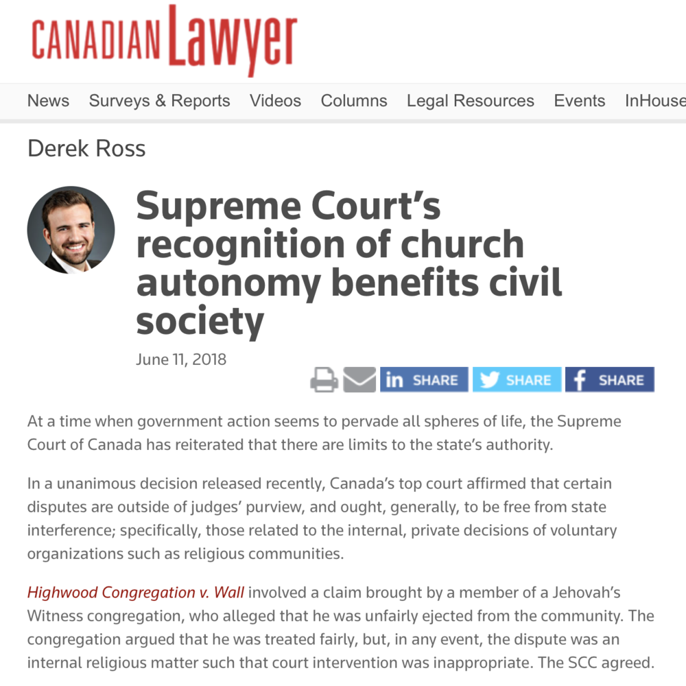 Canadian Lawyer:Supreme Court's recognition of church autonomy benefits civil society - Derek Ross