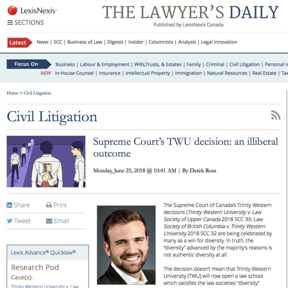 The Lawyer's Daily: Supreme Court's TWU decision: an illiberal outcome - Derek Ross
