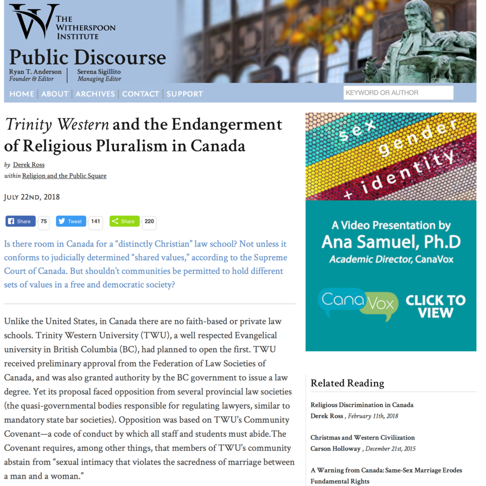 Public Discourse: Trinity Western and the Endangerment of Religious Pluralism in Canada - Derek Ross
