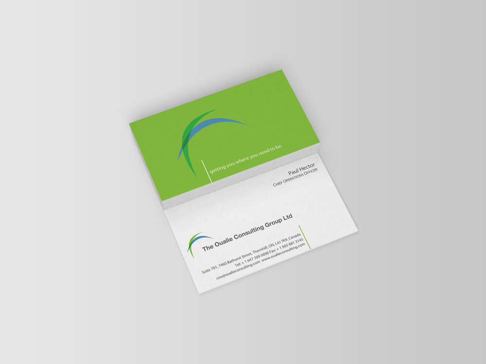 Business Cards we designed for Oualie Consulting