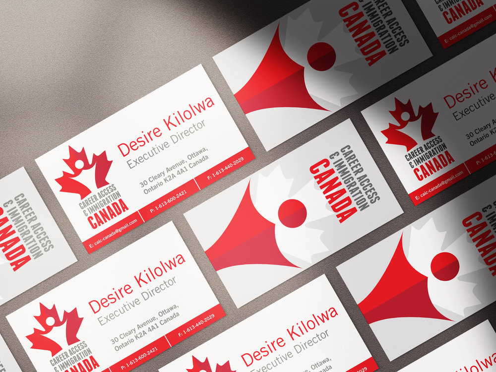 Stationery and Business Cards - Design of Career Access & Immigration Canada's Branding, and marketing materials.
