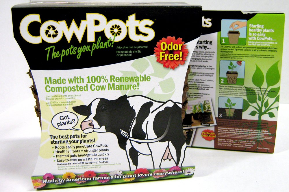 CowPots in chipboard package