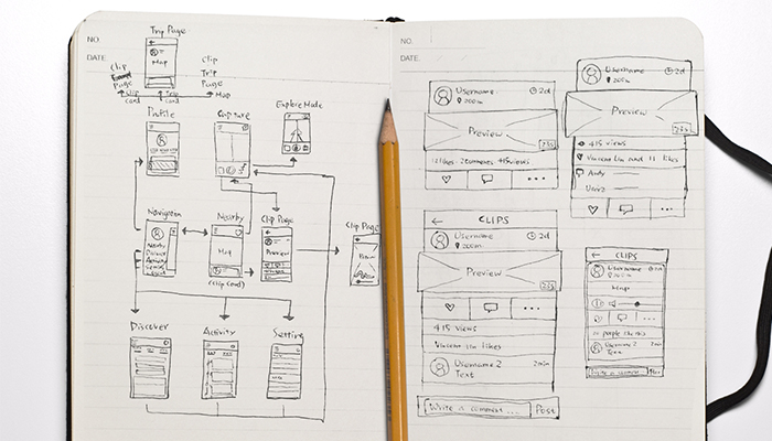 My early wireframe sketch on moment cards.