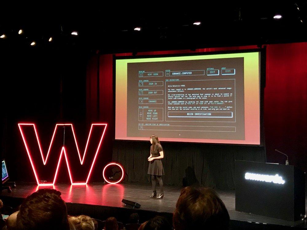 Nicole分享的另一個案子很有趣叫「ENHANCE.COMPUTER」,可以讓人聲控找線索