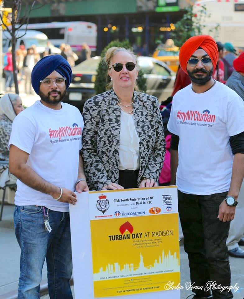 with manhattan borough president, gail brewer & sikhs of new york founder, chanpreet singh