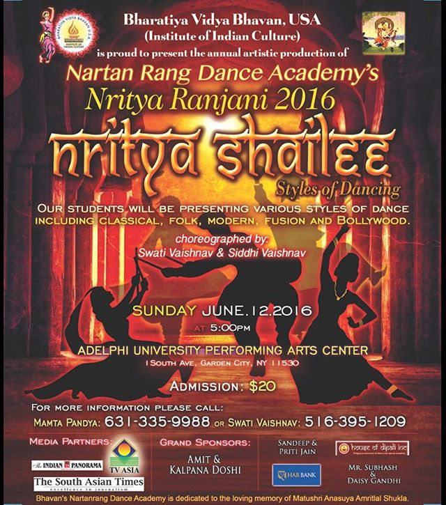 I will be hosting 'Nritya Shailee' - styles of dancing presented by the Bhartiya Vidya Bhavan & Nartan Rang Dance Academy of Bharatiya Vidya Bhavan this coming Sunday at Adelphi University!  Amazing conceptualization & choreography by Swati Vaishnav & Siddhi Vaishnav.  Always a pleasure to be in great talent & company - see you all there! 🙏🏽💃🏽