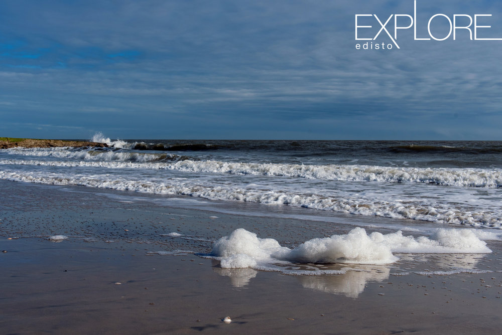 Sea foam reflecting in the water on the shore of the beach.