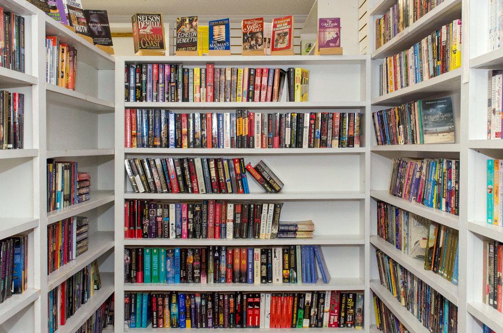 Books on book shelves, Edisto Bookstore