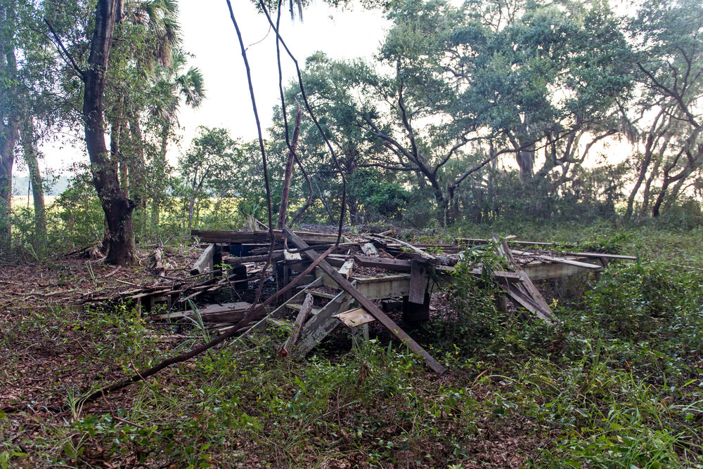 All that remains of the last slave cabin on the plantation. Parts of this cabin were taken to use on the cabin at the museum.