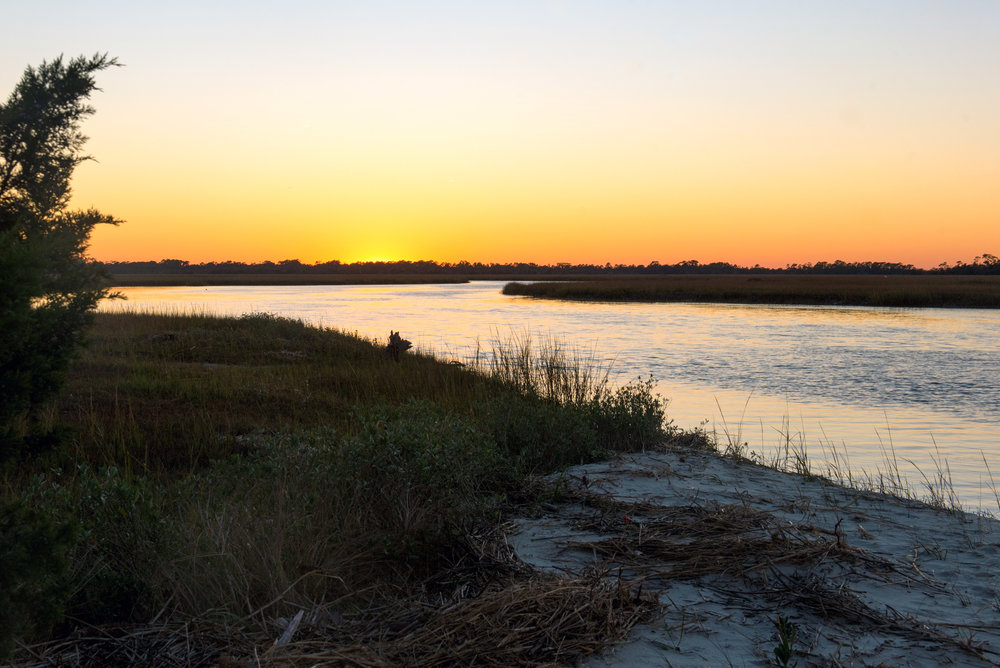 View of sunset from Otter Island, SC.