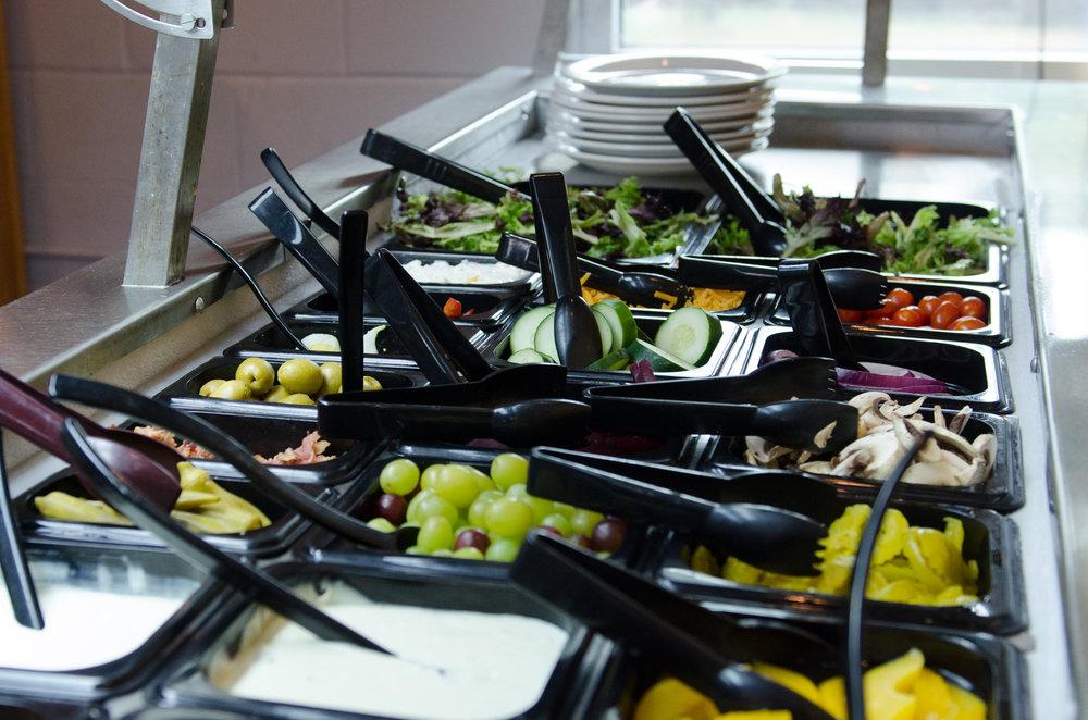 Salad bar at The Waterfront