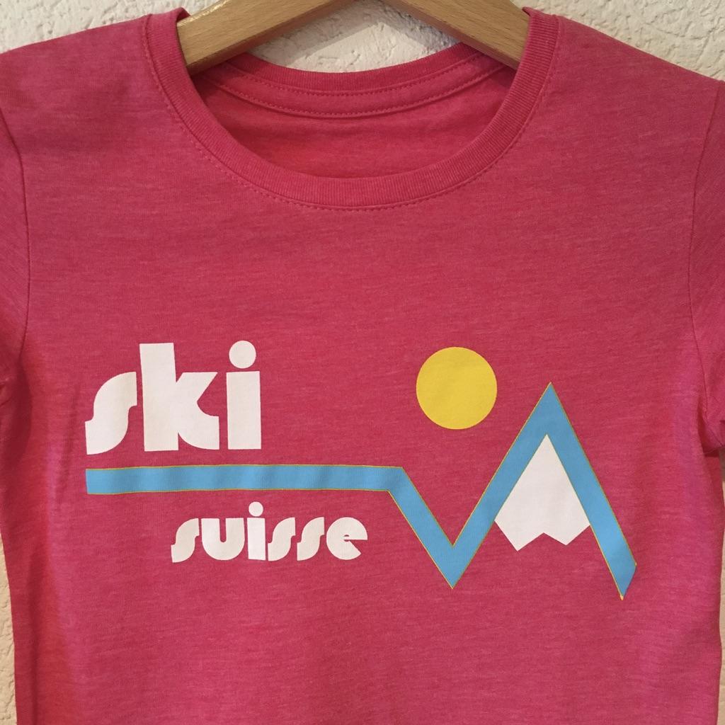 857edef9 Kids' Ski Suisse shirt - pink, blue, grey and purple — VACHEMENT SUISSE