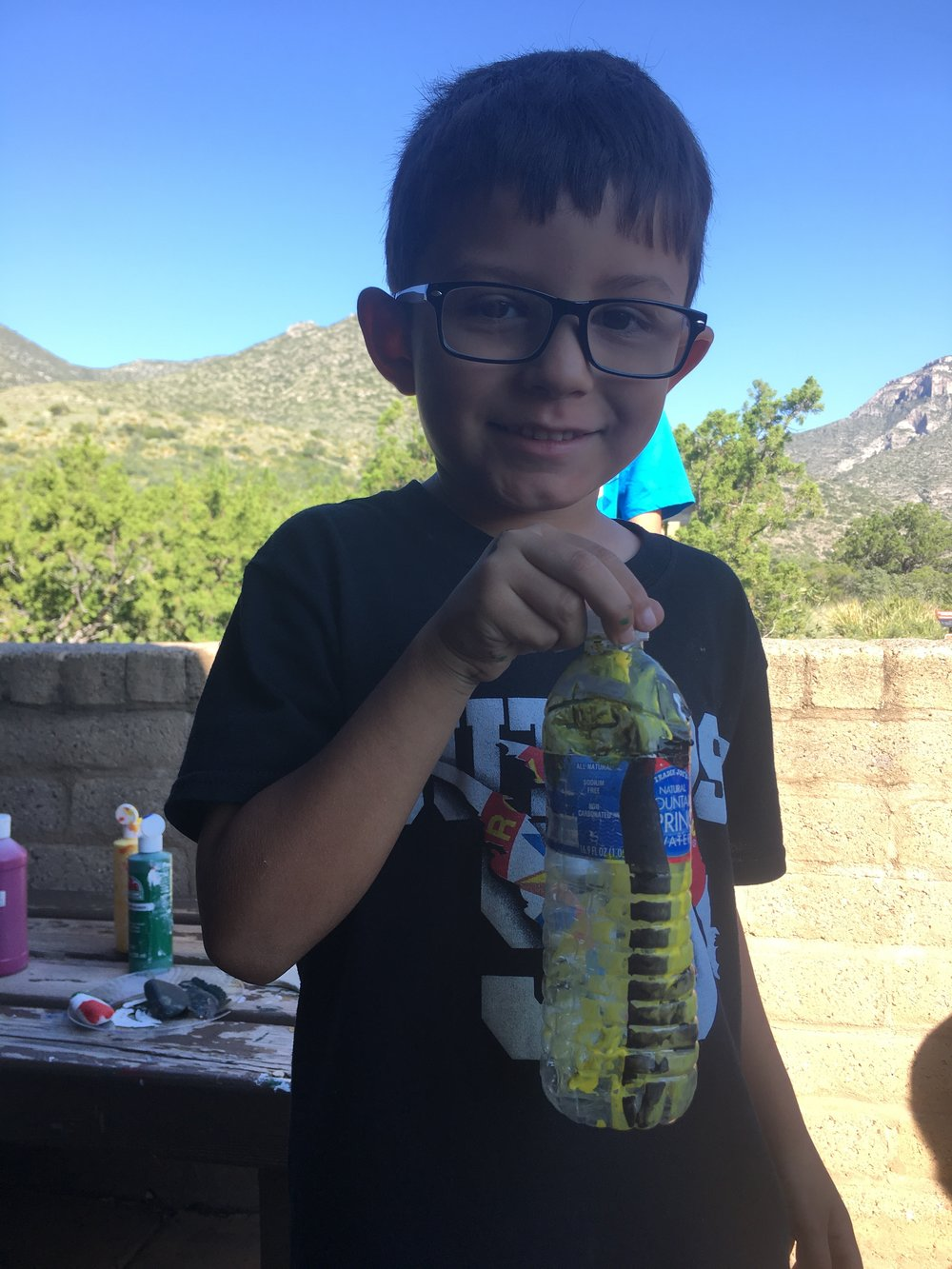 He made a minion on an old water bottle!