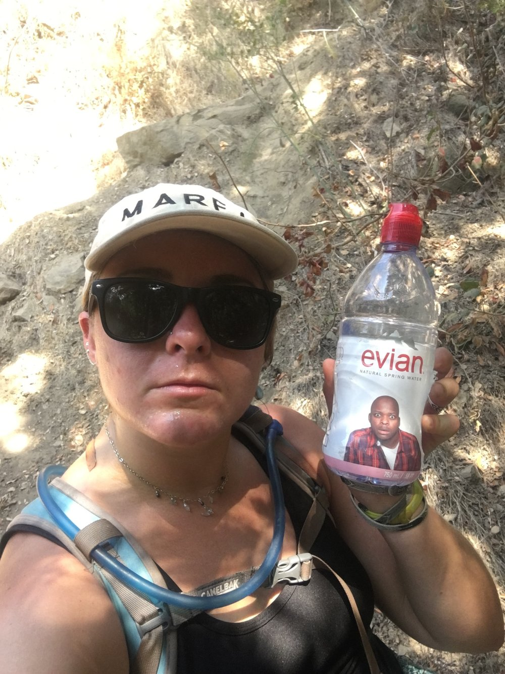 The guy on the Evian bottle is equally appalled at the misuse of plastic water bottles!