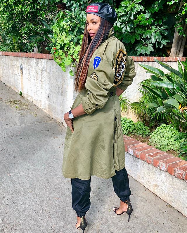 When I look back over my life, I realize I have all of the ammo I need to keep moving forward.  #BeyondReady. _ Custom military trench | @blbankster  Silk Track Pants | @trebytre  __