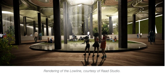 "Says James Ramsey, Lowline creator and co-founder, ""The key feature of the Lowline was that we could take natural sunlight and send it underground to grow something. With this natural sunlight, we could take an abandoned trolley terminal, where there's a football field size of New York City history, and transform it into a vibrant public space filled with plants and trees"" INLINE"