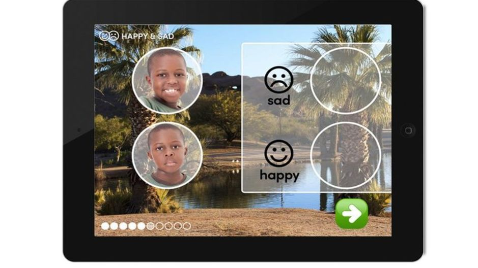 An exercise in the Skill Champ app: images help illustrate different emotional cues. (Photo courtesy of Infiniteach)