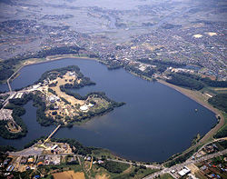 Aerial view of the Yamakura Dam and Chiba reservoir (from Kyocera)
