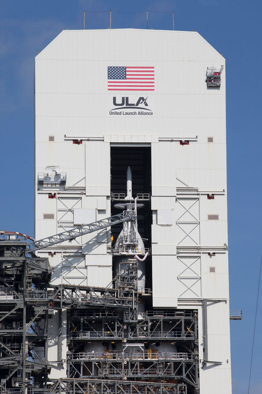 The Orion spacecraft undergoes launch preparations. (Photo credit: NASA/Kim Shiflett)