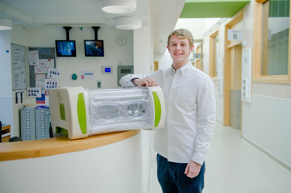 James Roberts with the MOM incubator. (Photo courtesy of Dyson and James Roberts)