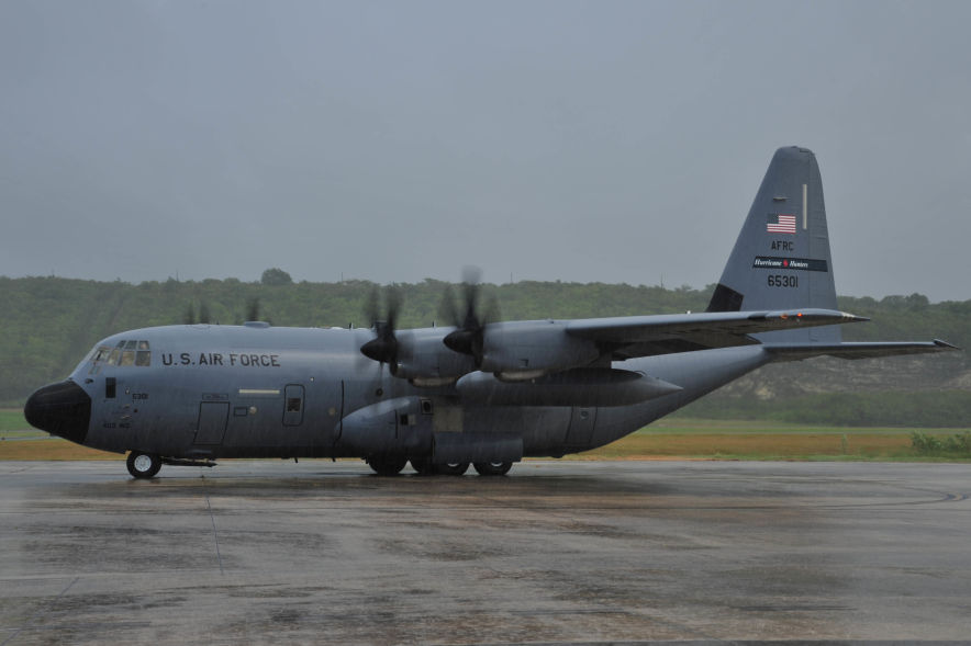Hurricane Hunters conduct missions in high-tech WC-130J planes like the one pictured above from the 53rd Weather Reconnaissance Squadron. This file photo was taken on July 28, 2013. (Photo credit: U.S. Air Force/Tech. Sgt. Ryan Labadens)