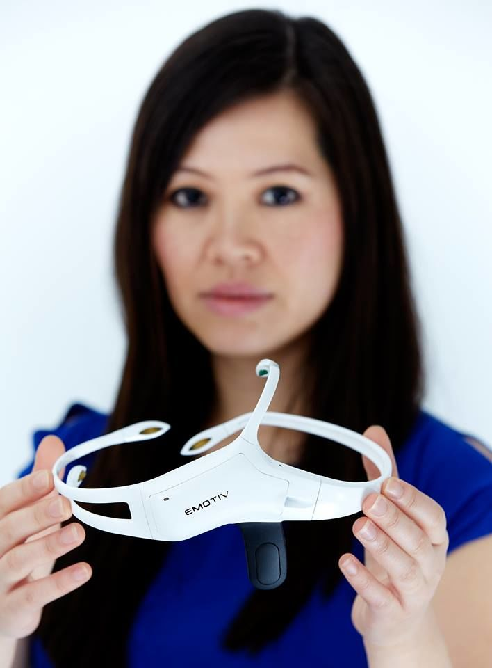 Tan Le with the new Emotiv Insight headset. (Photo courtesy of Tan Le's Facebook page)