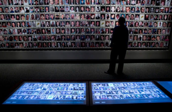 Interactive touchscreens inside the 9/11 Memorial Museum. (Photo credit: Jin Lee)