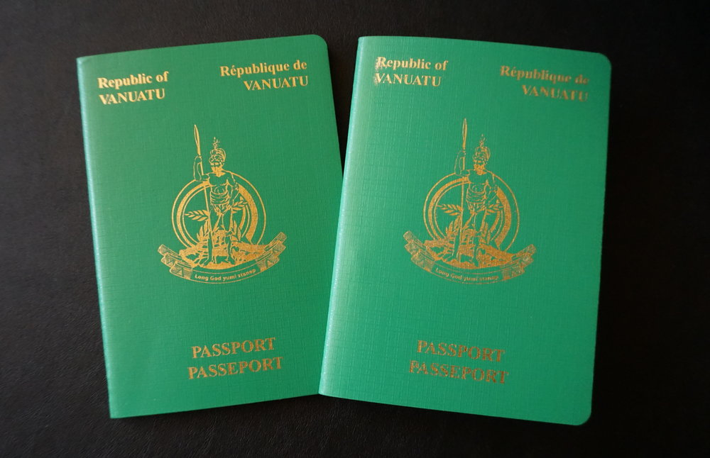 The front cover of a Vanuatu passport