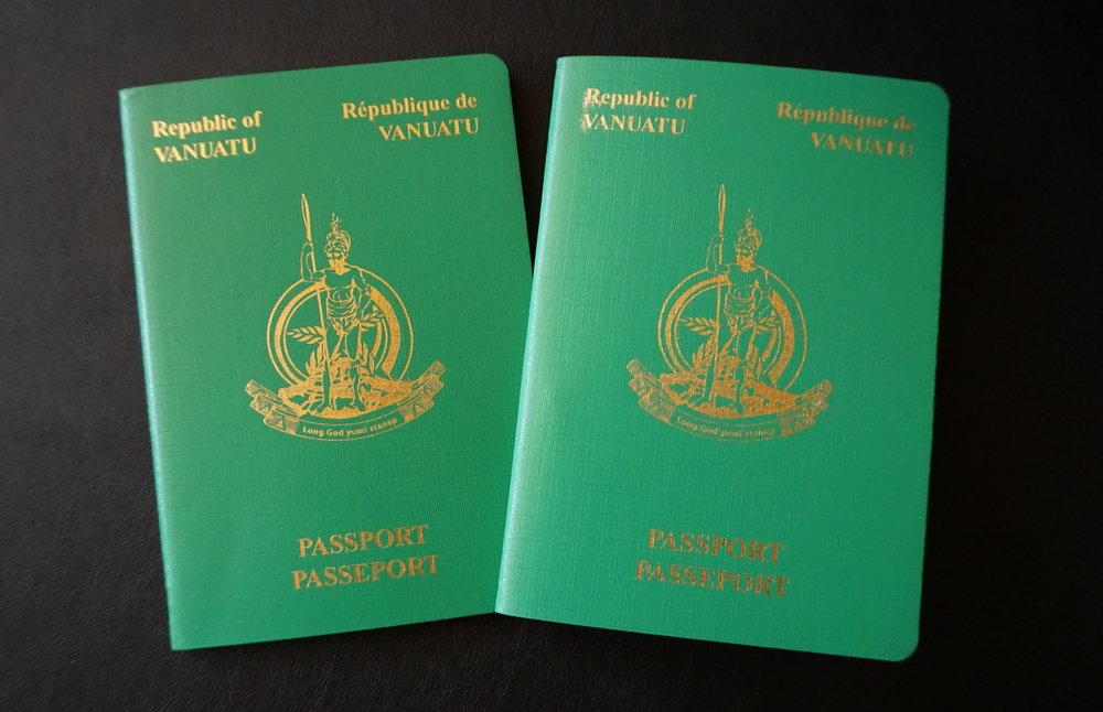 The front cover of a Vanuatu passport